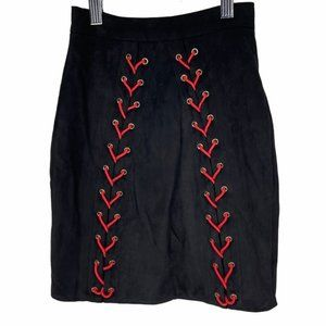 Oh Polly Velvet Lace Up Black Red Micro Mini Skirt